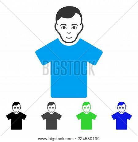 Cheerful Guy vector icon. Vector illustration style is a flat iconic guy symbol with grey, black, blue, green color variants. Human face has positive sentiment.