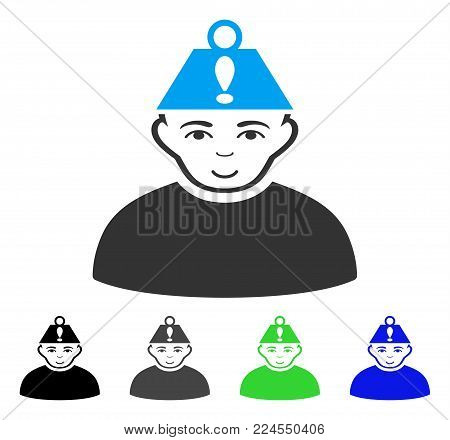 Positive Head Stress vector pictograph. Vector illustration style is a flat iconic head stress symbol with grey, black, blue, green color variants. Person face has positive mood.