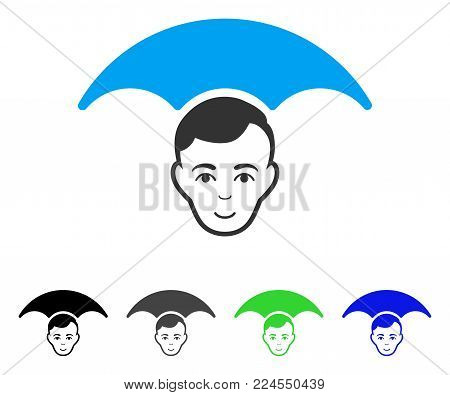Joyful Head Umbrella vector icon. Vector illustration style is a flat iconic head umbrella symbol with gray, black, blue, green color variants. Person face has smiling emotion.