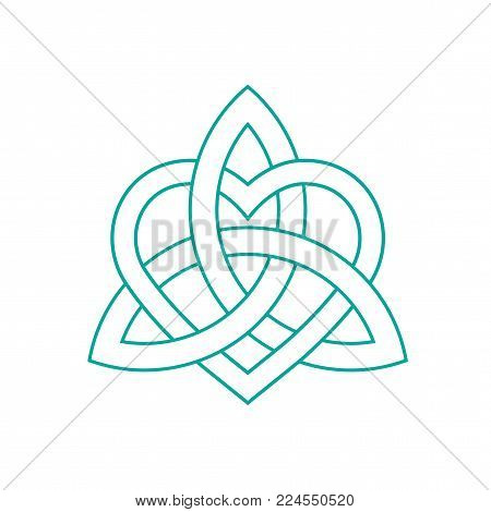 Vector icon: Celtic knot, triquetra cross or Trinity symbol with heart shape. Gaelic or Celtic medieval style knotwork of Holy Trinity isolated.