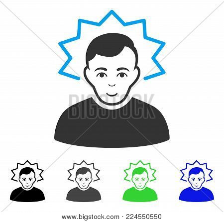 Happiness Inventor vector icon. Vector illustration style is a flat iconic inventor symbol with gray, black, blue, green color versions. Person face has smiling emotion.