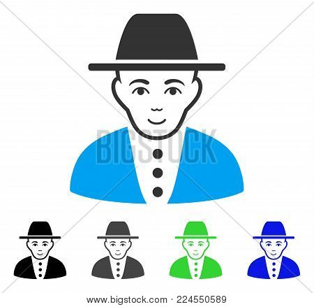 Gladness  vector pictograph. Vector illustration style is a flat iconic  symbol with grey, black, blue, green color variants. Human face has positive emotion. poster