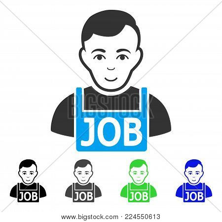 Glad Jobless vector pictograph. Vector illustration style is a flat iconic jobless symbol with gray, black, blue, green color versions. Person face has glad emotion.
