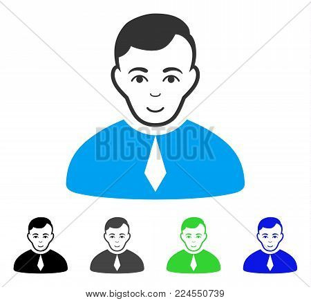Joy Lawyer vector pictograph. Vector illustration style is a flat iconic lawyer symbol with gray, black, blue, green color versions. Human face has glad sentiment.
