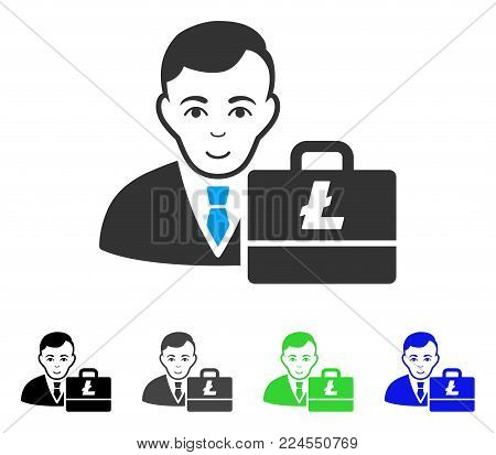 Positive Litecoin Accounter vector pictogram. Vector illustration style is a flat iconic litecoin accounter symbol with gray, black, blue, green color versions. Human face has glad feeling.