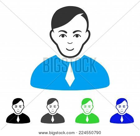 Cheerful Loyer vector pictograph. Vector illustration style is a flat iconic loyer symbol with grey, black, blue, green color versions. Human face has glad mood.
