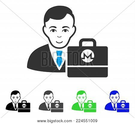 Enjoy Monero Accounter vector icon. Vector illustration style is a flat iconic monero accounter symbol with gray, black, blue, green color versions. Human face has glad mood.