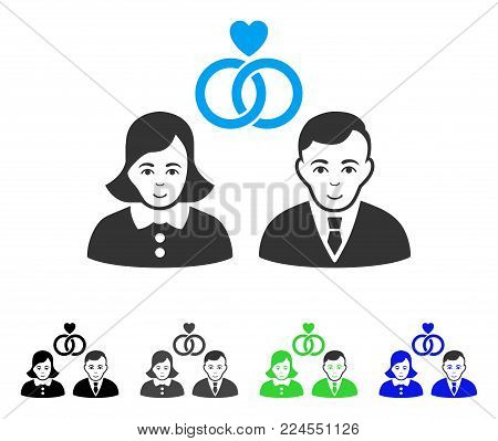 Gladness People Marriage vector pictogram. Vector illustration style is a flat iconic people marriage symbol with grey, black, blue, green color variants. Person face has enjoy mood.