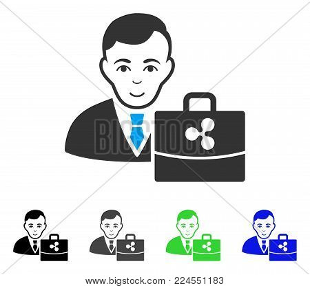 Positive Ripple Accounter vector pictogram. Vector illustration style is a flat iconic ripple accounter symbol with grey, black, blue, green color versions. Human face has joy feeling.