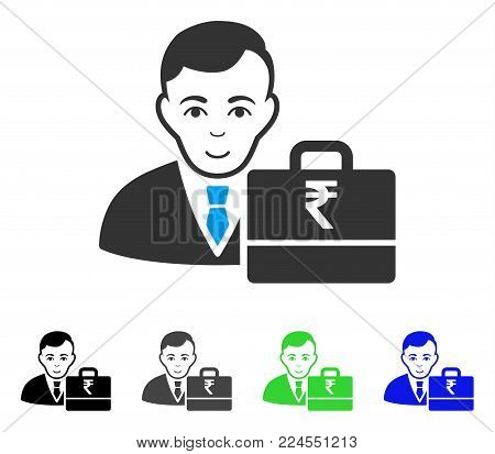 Joy Rupee Accounter vector icon. Vector illustration style is a flat iconic rupee accounter symbol with gray, black, blue, green color variants. Person face has happiness feeling.