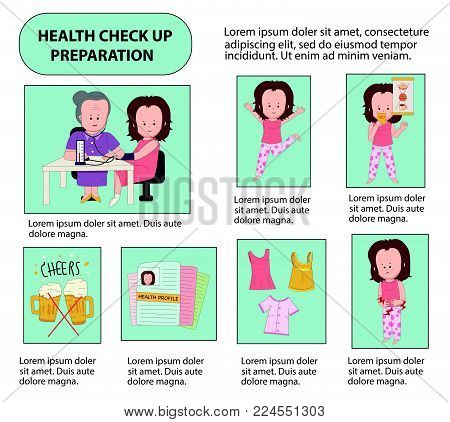 The preparation for health check up infographics, with cartoon characters in line flat design, illustration, vector