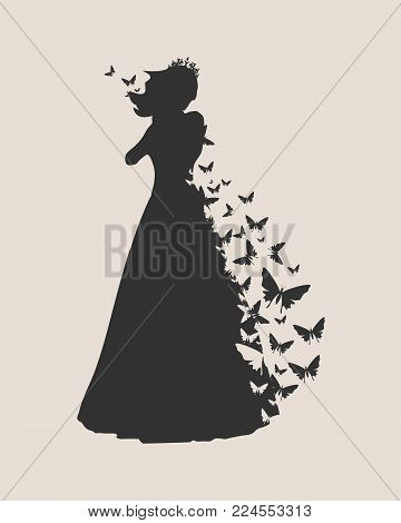 Sexy woman silhouette in evening dress. Medieval queen or princess monochrome silhouette with butterflies