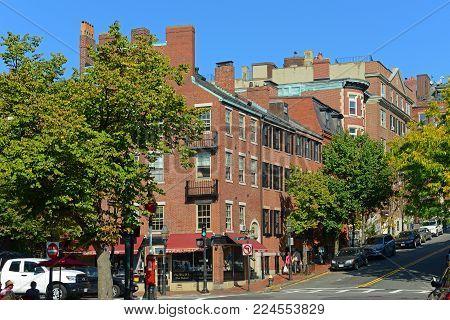 BOSTON - OCT. 2, 2013: Historic Buildings at the corner of Charles Street and Mt Vernon Street on Beacon Hill, Boston, Massachusetts, USA.