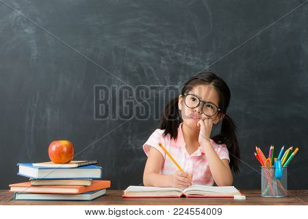 Happy Cheerful Female Student Doing Homework