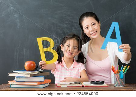 Happy Family Of Mom With Daughter Studying English