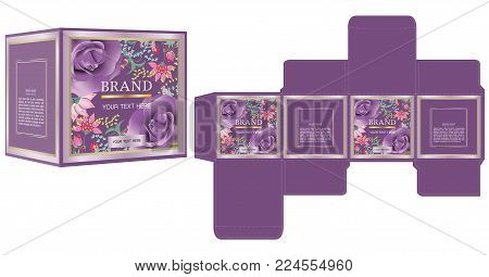 Packaging design for cosmetic or perfume product, luxury flowers box design template and mockup box. illustration vector.