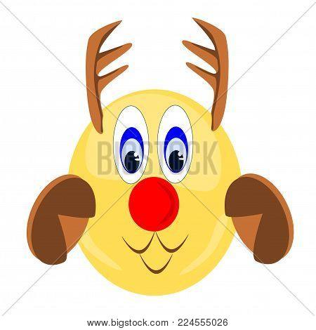 Emoji reindeer with antlers and hooves, eps vector format, jpeg