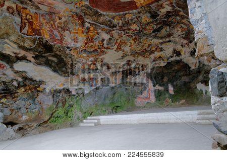 SUMELA MONASTERY, TRABZON, TURKEY - AUGUST 15, 2008: Frescoes in the Rock Church of Sumela monastery. Frescoes date back to XVIII century