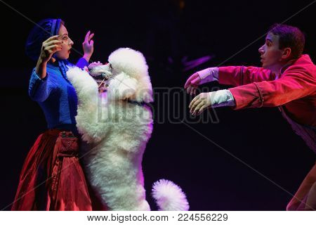 ST. PETERSBURG, RUSSIA - DECEMBER 28, 2017: Victoria Akimova (left) as Gerda and Sergey Akimov as Kai with trained dogs in the circus show Snow Queen by Great Moscow circus