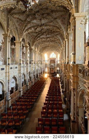 HILLEROD, DENMARK - DECEMBER 27, 2016: Interior of Frederiksborg Castle Church. The castle was built as a royal residence for Christian IV and becoming the largest Renaissance residence in Scandinavia