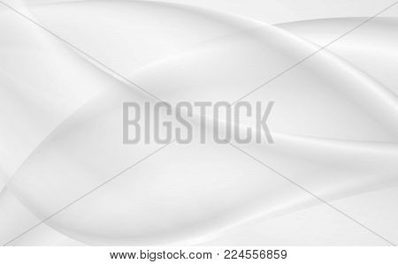 Light grey and white smooth flowing waves abstract background. Vector design