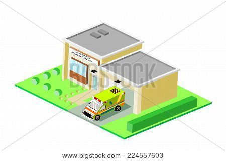 Isometric emergency medical services station building with vehicle, eps vector format, jpeg