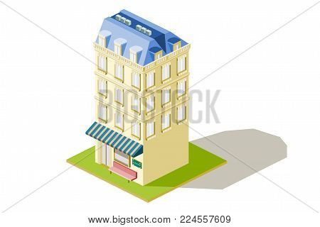 isometric tall European style three level hotel with landscape, eps vector format, jpeg