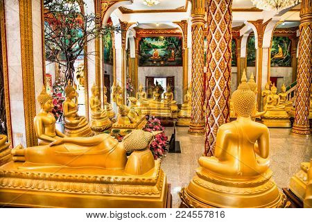 Phuket city, Thailand- Jan 24, 2016: .Wat Chaitharam or Wat Chalong temple inddoor on Jan 24, 2016 in Phuket city, Thailand.