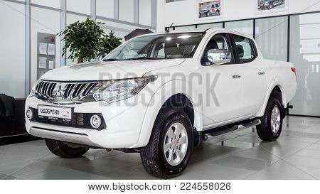 Novosibirsk, Russia - May 18, 2017: Mitsubishi Pajero Sport, back view. Photography of a jeep  in the showroom