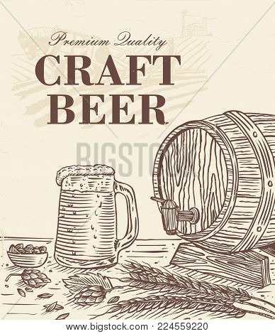 Hand drawn stein of beer and wooden barrel