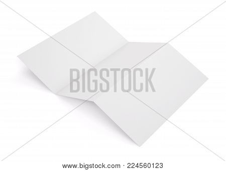 Blank white tri folded booklet mockup isolated on white background. Empty template booklet for your design. 3d rendering