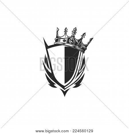 black and white shield logo with tilt crown on white back ground vector illustration design.