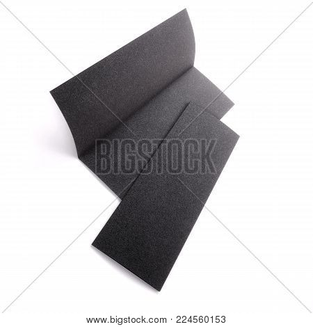 Blank black half folded booklet mockup, opened and closed isolated on white background. Empty template booklet for your design. 3d rendering