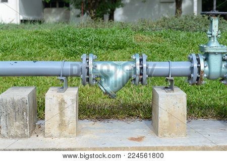 Outdoor old water supply main pipeline - industry