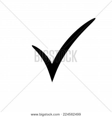 Check mark icon. Vector checkmark button. Tick symbol. Illustration on white background.
