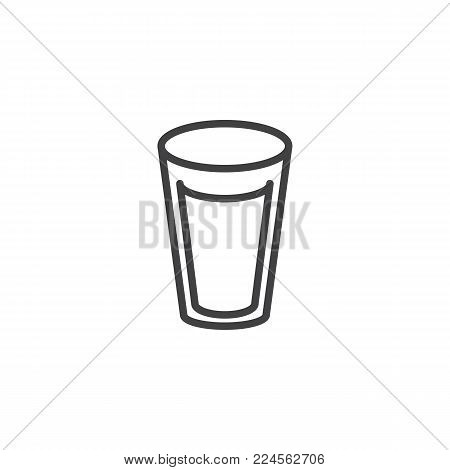 Milk glass line icon, outline vector sign, linear style pictogram isolated on white. Glass of water symbol, logo illustration. Editable stroke