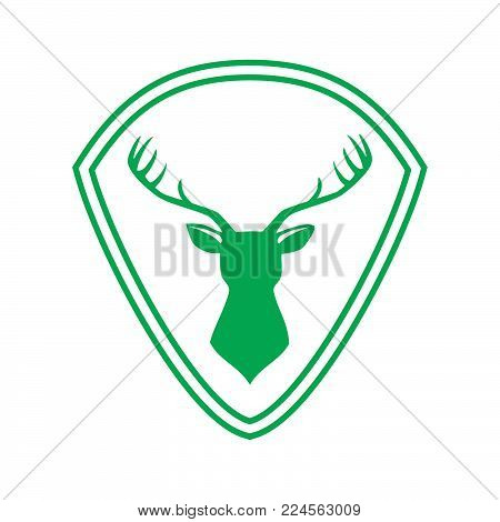 Emblem vector logo green shield and deer. Deer icon art. Deer icon eps. Deer icon Image. Deer icon logo. Deer icon sign. Deer icon flat. Deer icon design. Deer icon Vector illustration EPS.8 EPS.10