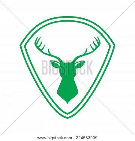 Emblem vector logo green shield and deer. Deer icon art. Deer icon eps. Deer icon Image. Deer icon logo. Deer icon sign. Deer icon flat. Deer icon design. Deer icon Vector illustration EPS.8 EPS.10
