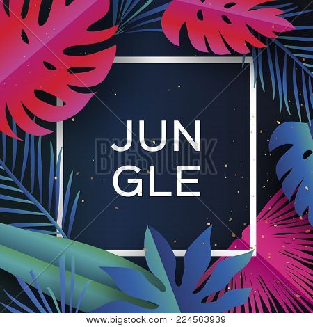 Trendy Jungle banner. Paper cut Tropical palm leaves, plants. Exotic. Hawaiian. Space for text. Square frame. Bright Colorful jungle floral background. Monstera. Vector illustration