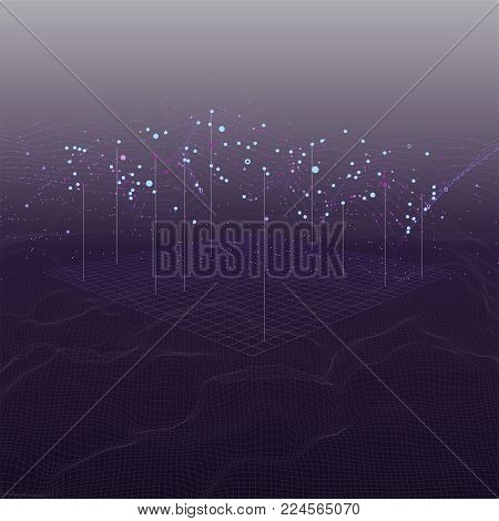 Big data stream futuristic infographic on digital cyber surface. Quantum computing, cryptography, trendy technologies infographic. 3D Bigdata visualization. Abstract visual data vector design.