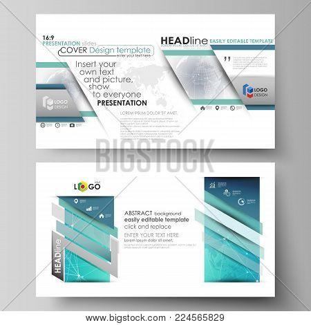 The minimalistic abstract vector illustration of the editable layout of high definition presentation slides design business templates. Chemistry pattern. Molecule structure. Medical, science background.