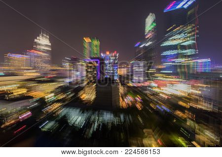 Saigon, Ho Chi Minh, Vietnam, Asia, 29 January 2018- Zooming skyline view of the capital city Ho Chi Minh at night with the colourful city lights ablaze.