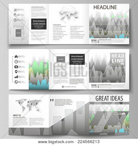 The minimalistic vector illustration of the editable layout. Three creative covers design templates for square brochure or flyer. Rows of colored diagram with peaks of different height
