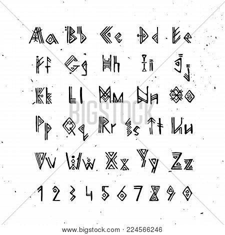 Old Norse Scandinavian font. Runic alphabet, futhark style letters. Ancient occult symbols, vikings letters on white, rune font. Vector illustration with light texture. Ancient norse font, capital and small letters