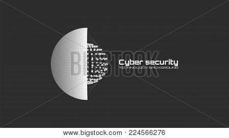Cyber security and information protection. Protect mechanism, system privacy icon isolated on black background. Protection concept, information privacy idea, technology background. Vector illustration.