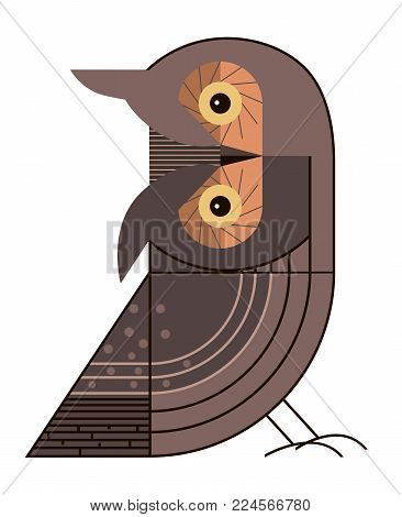 The owl tilted her head in surprise, minimalist image