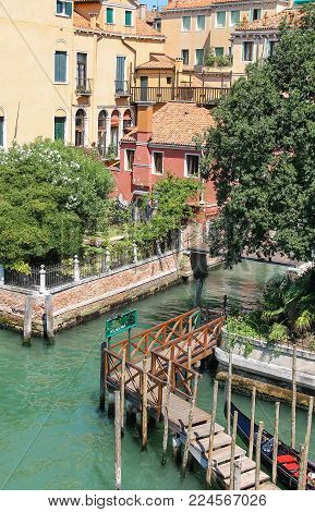 Venice, Italy - August 13, 2016: View from Accademia Bridge ( Rio de S. Vidal)
