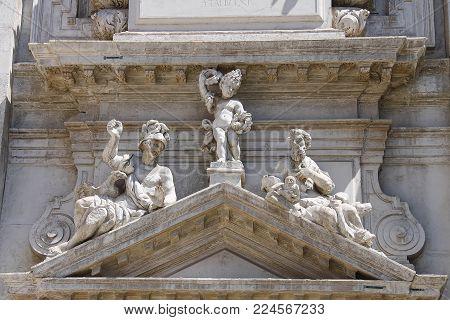 Part of facade of Saint Moses church (Basilica di San Moise) in Venice, Italy