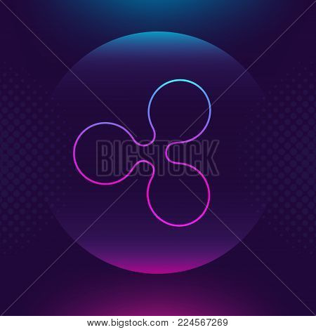 Ripple XRP vector outline icon. Cryptocurrency, e-currency, payment, crypto currency, blockchain button. Trendy Bright lighting logo adaptation design web site mobile app, EPS. Ultra violet background