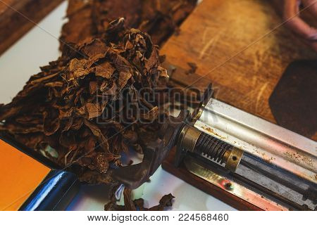 Process of making traditional cigars from tobacco leaves with own hands using a mechanical device and press. Leaves of tobacco for making cigars. Close-up, soft focus and beautiful bokeh.
